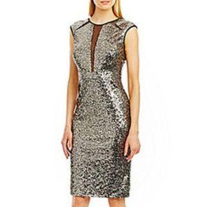 Nicole Miller illusion sequin evening dress